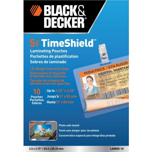 Black & Decker TimeShield ID Badge Size Laminating Pouches 10pk (LAMID5-10) - $2.86 Image 1