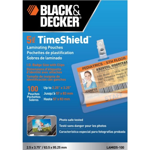 Black & Decker TimeShield ID Badge Size Laminating Pouches (LAMID5) - $2.86 Image 1