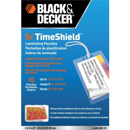Black & Decker TimeShield Luggage Tag Size Laminating Pouches 10pk (LAMLUG5-10) - $2.7 Image 1