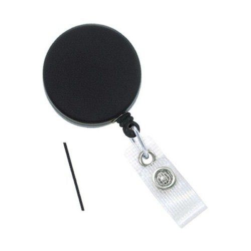 Black Heavy Duty Reinforced Badge Reel with Nylon Wire Cord - 25pk (2120-3300) Image 1