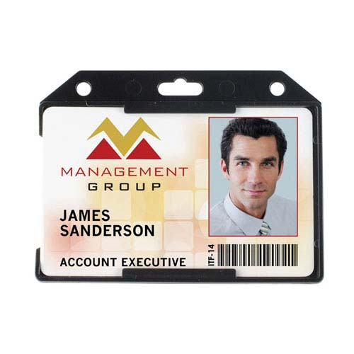 Black Plastic Badge Holder Image 1