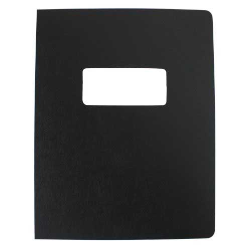 "16mil Black Leather Grain Poly 8.5"" x 11"" Covers With Windows (50 sets) (AKCLT16CSBK01W) Image 1"
