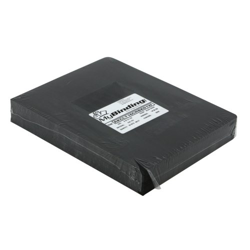 "16mil Black Leather Grain Poly 8.75"" x 11.25"" Covers With Windows (50 sets) (AKCLT16CRBK01W) Image 1"
