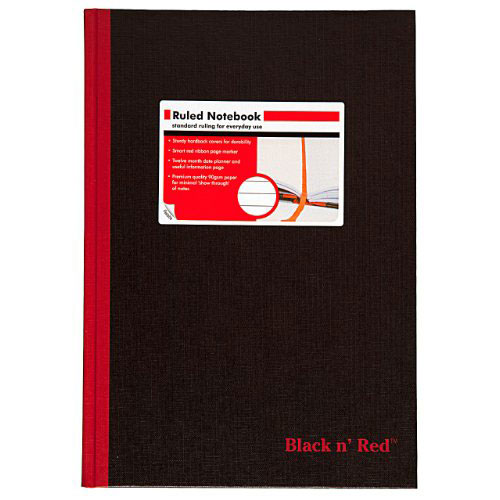 "Mead Black n Red 8-1/4"" x 11-3/4"" Ruled Hardcover Notebook (D66174), Mead Image 1"