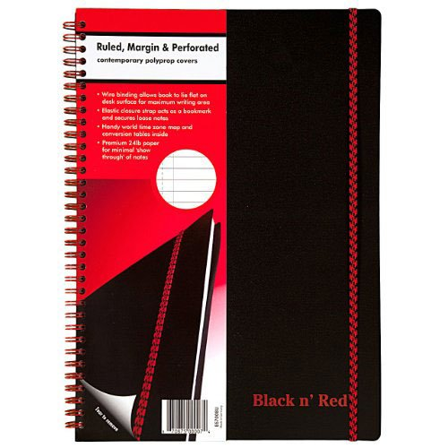 "Mead Black n Red 8-1/4"" x 11-5/8"" Black Poly Perforated Notebook (E67008), Mead Image 1"