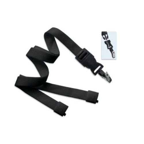 Black Optiweave Break-Away Lanyard with DTACH Bulldog Clip - 100pk (2135-4661) Image 1