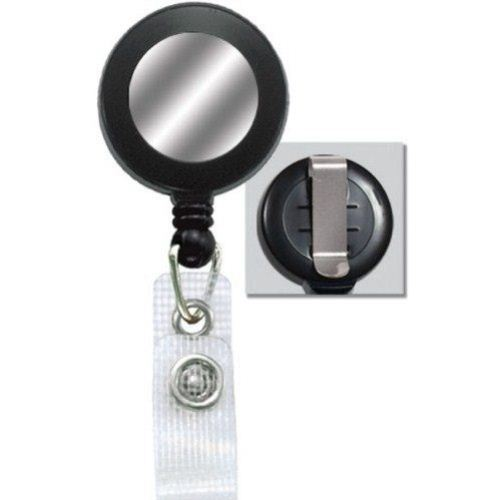 Black Reinforced Badge Reel w Silver Sticker and Belt Clip - 25pk (2120-3101) Image 1
