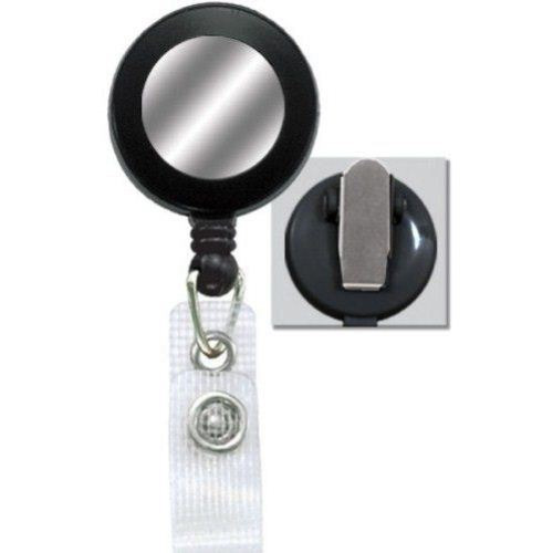 Black Reinforced Badge Reel w Silver Sticker and Spring Clip - 25pk (2120-4501) Image 1