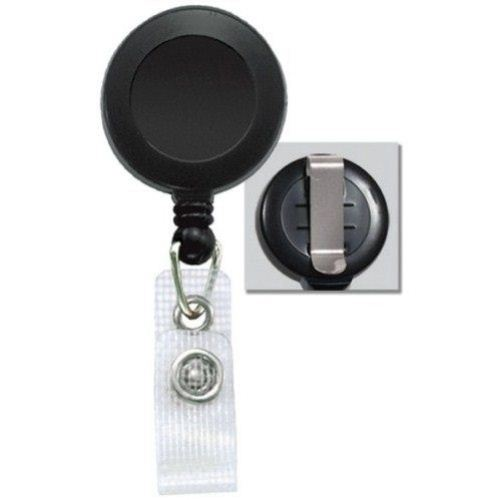 Black Round Badge Reel with Belt Clip and Reinforced Strap - 25pk (2120-3001) Image 1