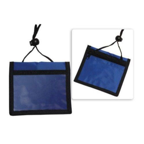 Blue 3 Pocket Nylon Wallet Credential Holders Image 1