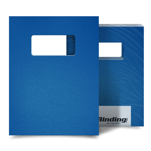 """Blue 55mil Sand Poly 9"""" x 11"""" Binding Covers with Windows - 10 Sets (MYMP559X11BLW) Image 1"""