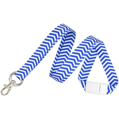 Blue and White ZigZag Pattern Fashion Lanyard with Trigger Hook and Split Ring - 10pk (2138-6283) Image 1