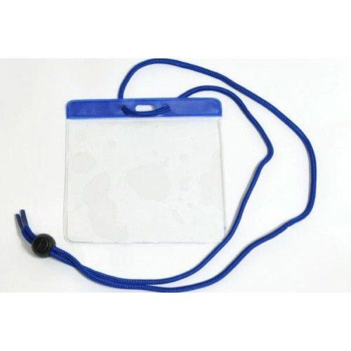 Blue Extra Large Color Bar Badge Holders with Neck Cords - 100pk (1860-2902) Image 1