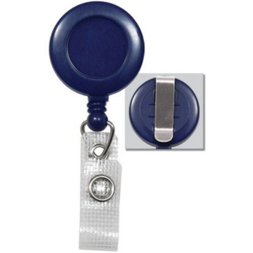 Blue Round Badge Reel with Belt Clip and Reinforced Strap - 25pk (2120-3002) Image 1