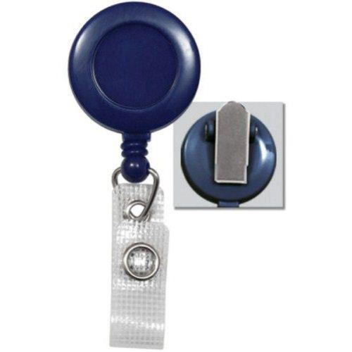 Blue Round Badge Reel with Spring Clip and Reinforced Strap - 25pk (2120-4752) Image 1