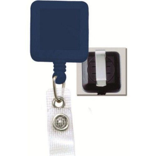 Blue Square Badge Reel with Belt Clip and Reinforced Strap - 25pk (2120-3822) Image 1