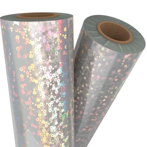 "Bubbles Silver Holographic 24"" x 500' Laminating / Toner Fusing Foil (FF-SP-158-24) Image 1"