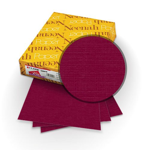 "Neenah Paper Classic Linen Burgundy 9"" x 11"" 80lb Covers with Windows - 25 Sets (MYCLINBUW9X11) Image 1"