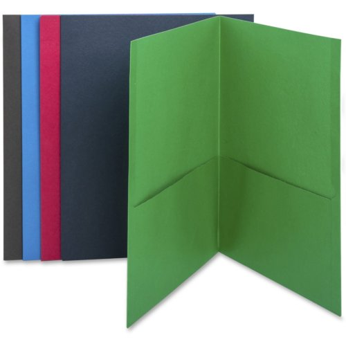 Business Source Assorted Letter Size Two-Pocket Portfolios - 25pk (BSN78502) Image 1