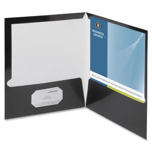 Business Source Black Letter Size Laminated Two-Pocket Folders - 25pk (BSN44425) Image 1