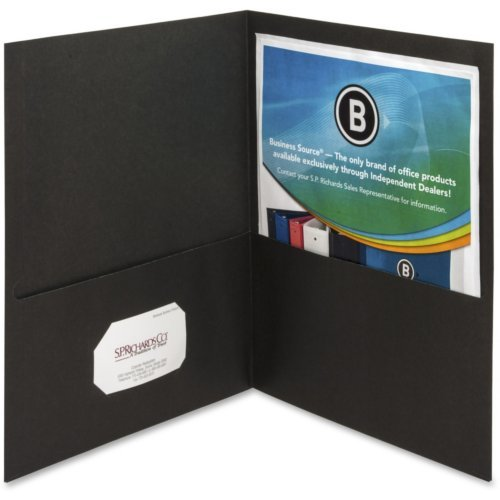 Business Source Black Letter Size Two-Pocket Portfolios - 25pk (BSN78490) Image 1
