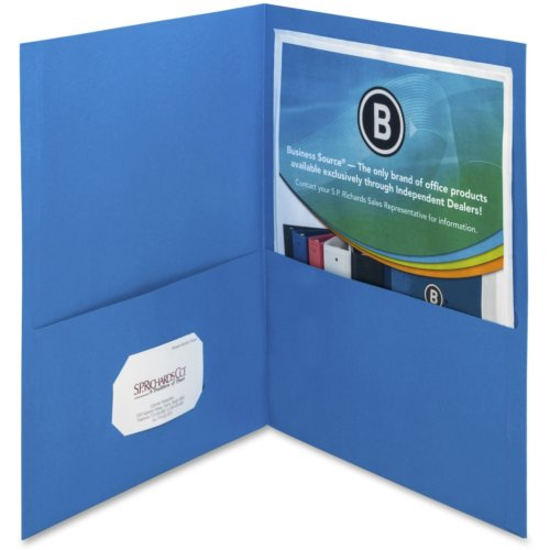 Business Source Blue Letter Size Two-Pocket Portfolios - 25pk (BSN78491) Image 1