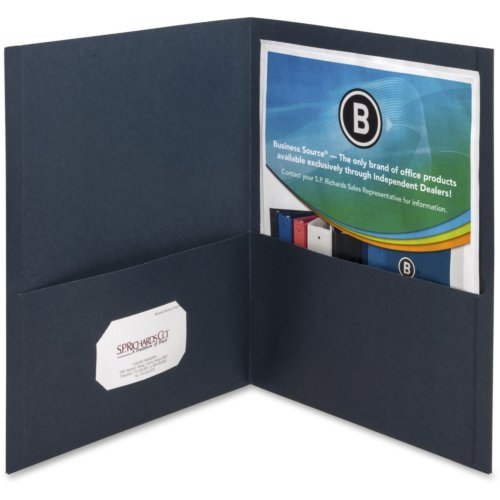 Business Source Dark Blue Letter Size Two-Pocket Portfolios - 25pk (BSN78492) Image 1