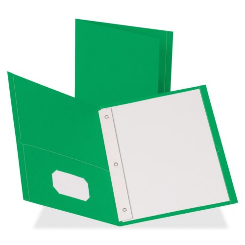 Business Source Green Letter Size Leatherette Two-Pocket Folders with Prong Fasteners - 25pk (BSN78509) Image 1