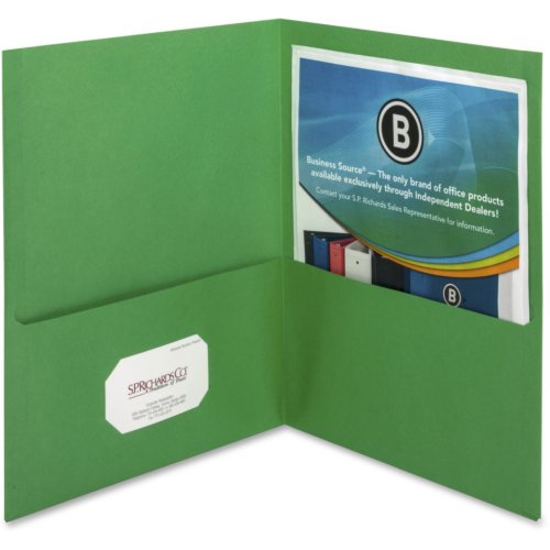 Business Source Green Letter Size Two-Pocket Portfolios - 25pk (BSN78493) Image 1
