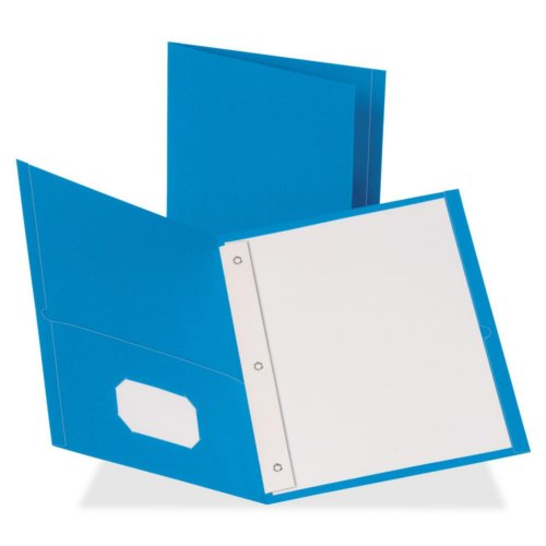 Business Source Light Blue Letter Size Leatherette Two-Pocket Folders with Prong Fasteners - 25pk (BSN78507) Image 1