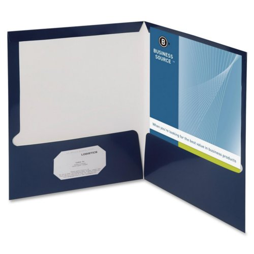 Business Source Navy Letter Size Laminated Two-Pocket Folders - 25pk (BSN44430) Image 1