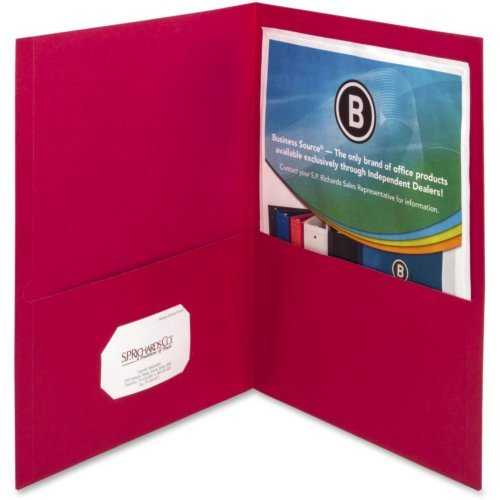 Business Source Red Letter Size Two-Pocket Portfolios - 25pk (BSN78494) Image 1