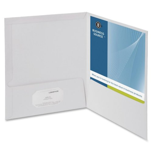Business Source White Letter Size Laminated Two-Pocket Folders - 25pk (BSN44424) Image 1