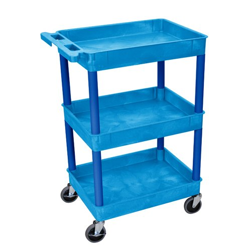 Luxor 3-Shelf Blue Tub Utility Cart (BUSTC111BU) Image 1