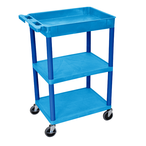 Luxor STC122-BU Blue Top Tub and Middle/Bottom Flat Shelf Utility Cart (BUSTC122BU) Image 1