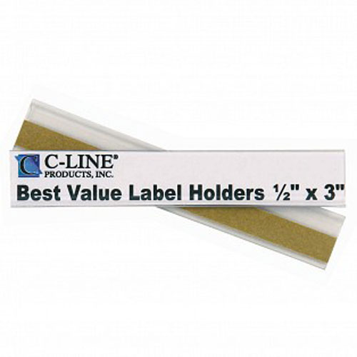 "C-Line 1/2"" x 3"" Best Value Shelf/Bin Label Holders 50pk (CLI-87607) Image 1"