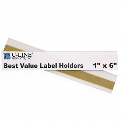 "C-Line 1"" x 6"" Best Value Shelf/Bin Label Holders 50pk (CLI-87627) Image 1"