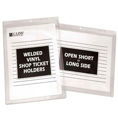 "C-Line 12"" x 9"" Welded Vinyl Shop Ticket Holders 50pk (CLI-80129) Image 1"