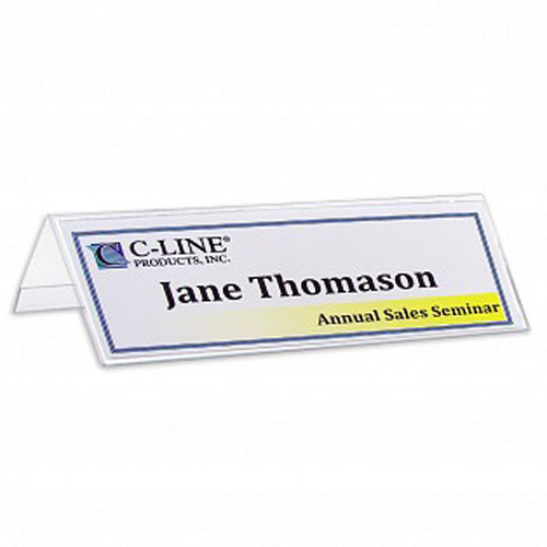 "C-Line 2-1/2"" x 8-1/2"" Heavyweight Rigid Plastic Name Tent Holder 25pk (CLI-87597) Image 1"