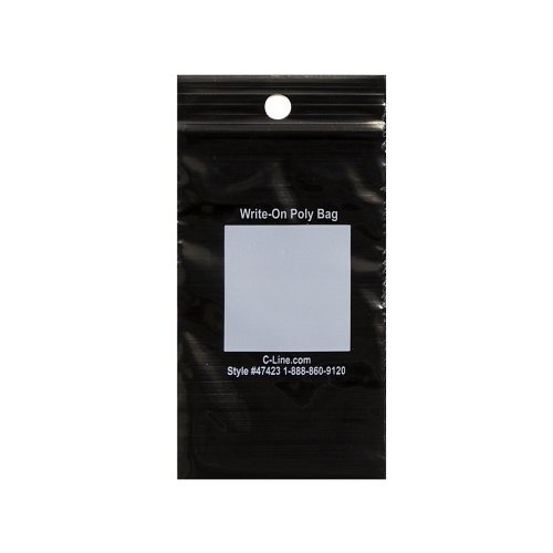 """C-Line 2"""" x 3"""" Write-On Reclosable Black PolyBags - 1000/BX (CLI-47423) Image 1"""