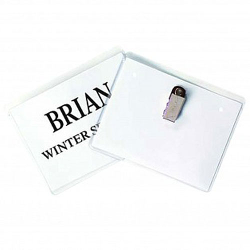 Clear Name Badge Holder with Clip Image 1