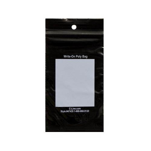 """C-Line 3"""" x 5"""" Write-On Reclosable Black PolyBags - 1000/BX (CLI-47435) Image 1"""