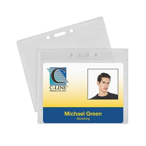 "C-Line 4"" x 3"" Horizontal ID Badge Holders 50pk (CLI-89643) Image 1"