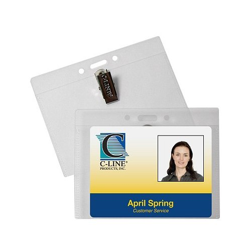 "C-Line 4"" x 3"" Horizontal ID Badge Holders with Clip 50pk (CLI-89543) Image 1"