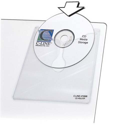 "C-Line 5 1/3"" x 5 2/3"" Self-Adhesive CD Holders 10pk (CLI-70568) Image 1"