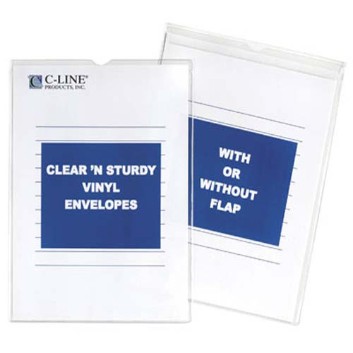 "C-Line 5"" x 8"" Clear 'N Sturdy Vinyl Envelope With Flap (CLI-86058)"