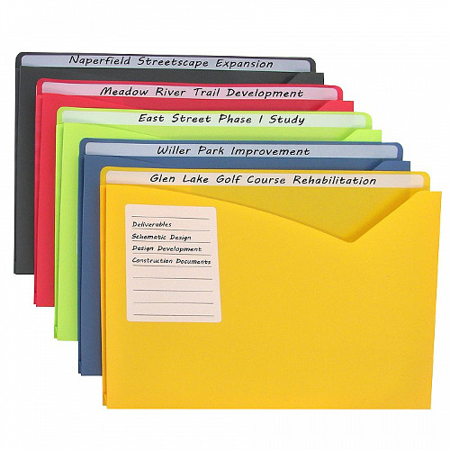 "C-Line Assorted 11"" X 8 1/2"" Write-on Poly File Jackets 25pk (CLI-63060)"