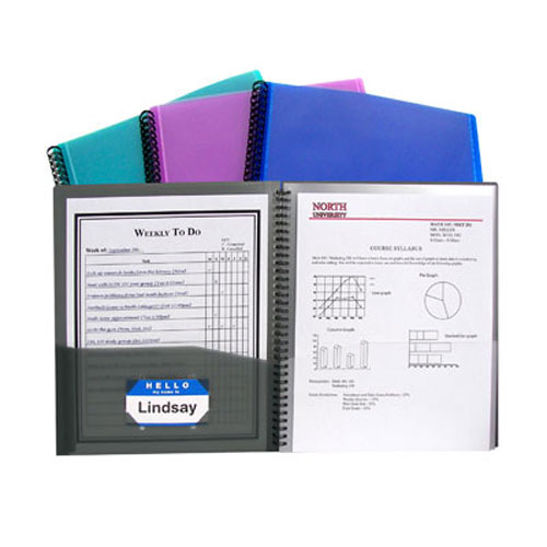 C-Line Assorted 8-Pocket Spiral-Bound Poly Portfolio 1pk (CLI-33080) Image 1