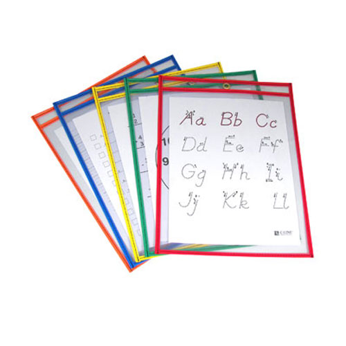 "C-Line Assorted 9"" x 12"" Reusable Dry Erase Pockets (Primary Colors) (CLI-912RDEPASS)"