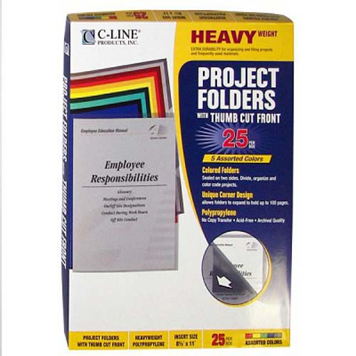 C-Line Assorted Colored Project Folders 25pk (CLI-62130) Image 1